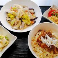 舞茸ご飯&白菜と茄子の梅蒸し