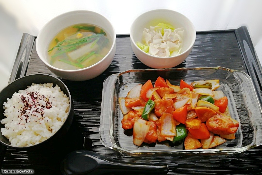 黒酢酢豚・焼売・スープの中華定食と疲れた日