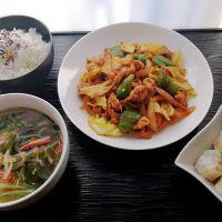 回鍋肉&エビ焼売と食べる系スープの中華定食
