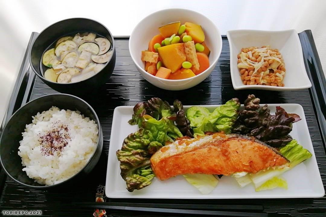 鮭はちみつ照焼き&南京の含め煮・なす味噌汁