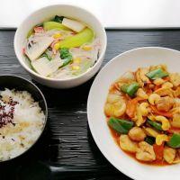 鶏とカシューナッツ炒め&中華ビーフンスープ