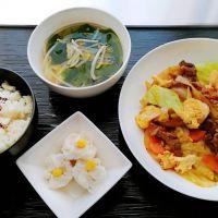 牛と卵のXO醤炒め&えび焼売・わかめスープ