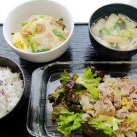 豚ねぎ塩焼き&ツナと白菜蒸し・オクラのみそ汁