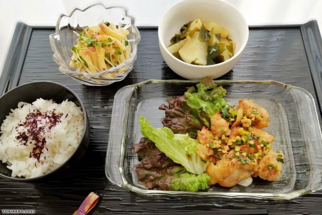 鶏の薬味醤油&明太マカロニサラダ・大根の磯煮