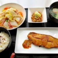 かれい煮付け&ベーコン白菜塩炒め・青菜みそ汁