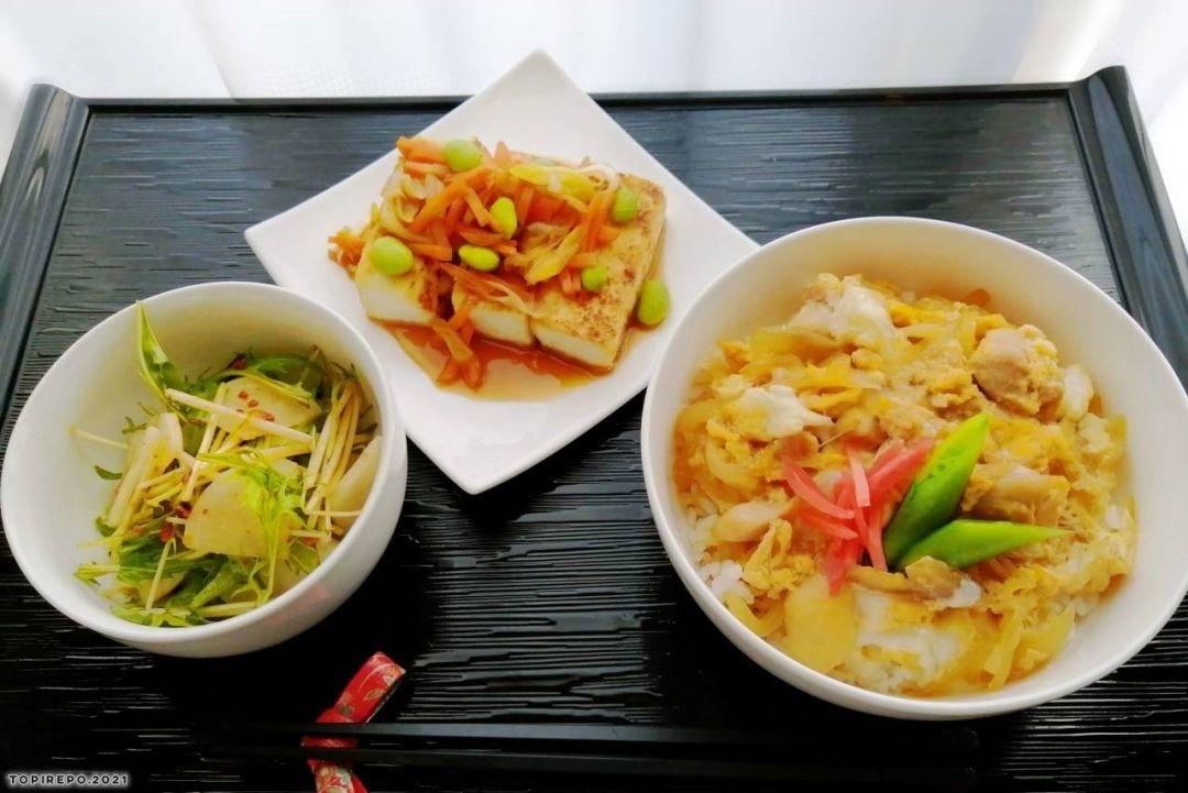 親子丼&あんかけ野菜豆腐ステーキ・ピリ辛大根