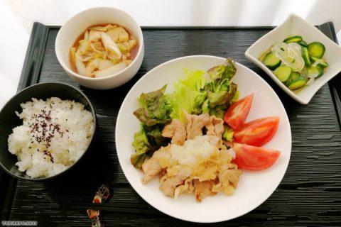 豚のおろしのせ&そぼろ白菜のうま煮・葛切り甘酢