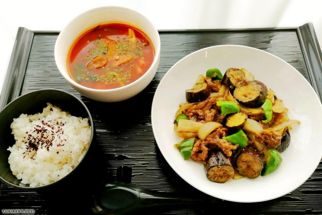 牛と茄子のガリバタソテー&ほうれん草のスープ
