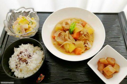鶏じゃが照り煮&ハムと白菜サラダ・ピリ辛蒟蒻