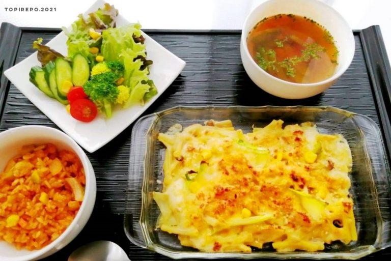 マカロニグラタン&彩りサラダ・コンソメスープ