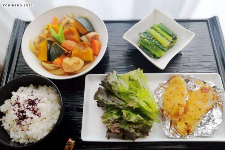 白身魚の香味フライ&かぼちゃ煮・青菜ごま浸し