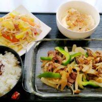 黒こしょう炒め&ベーコン野菜蒸し・すくい豆腐
