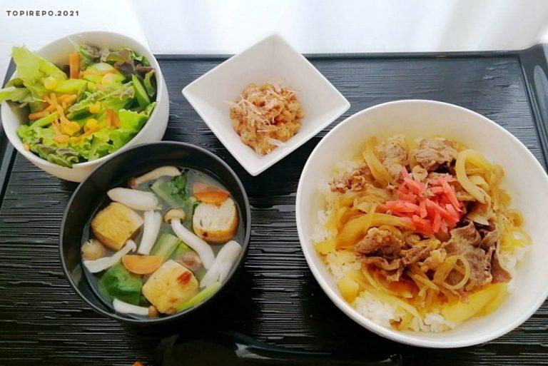 牛すき丼&がんものおかず汁・フレッシュサラダ