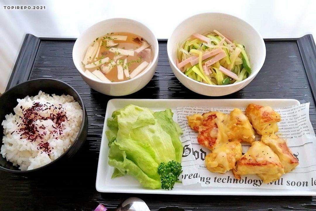鶏カレーチーズ焼&春雨サラダ・エリンギスープ