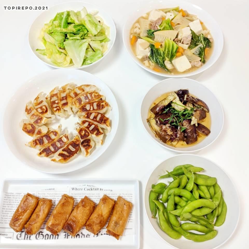 五目中華うま煮・焼餃子ほかの7品で週末家飲み
