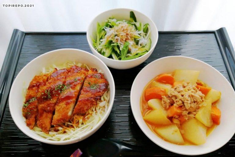 デミカツ丼&ツナ大根・胡瓜と水菜おかかポン酢