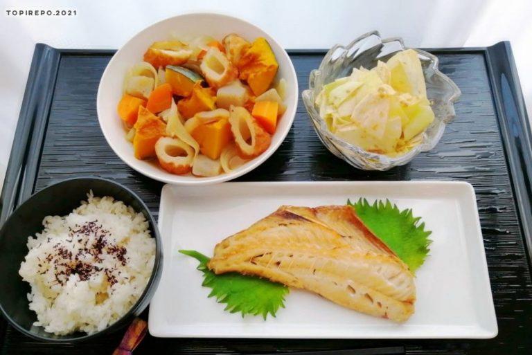 赤魚の干物&かぼちゃうま煮・キャベツごまあえ