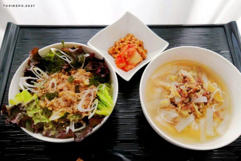 塩だれカルビのチョレギ丼&サムゲタン風スープ