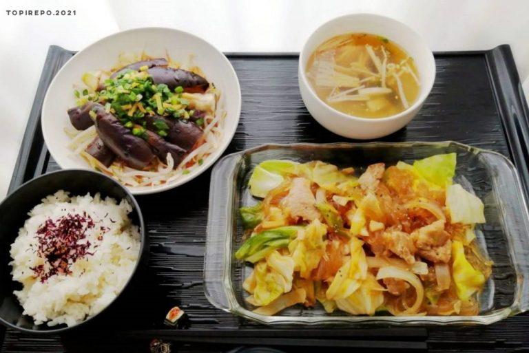 豚と春雨の甘辛炒め&なす香味がけ・大根スープ