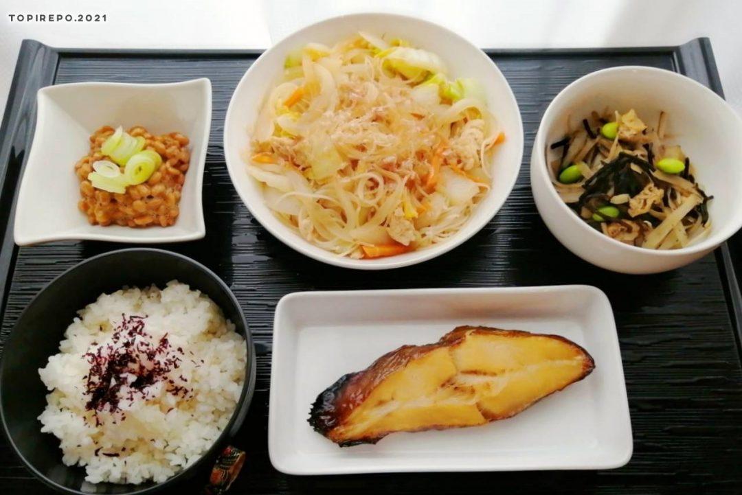 かれいみりん干し&ビーフン野菜炒め・ひじき煮