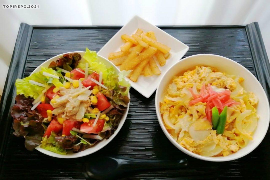 にこたま親子丼&ツナ彩りサラダ・大根きんぴら