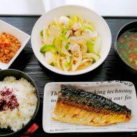 さばの塩焼き&鶏と野菜の黒胡椒炒め・なめこ汁